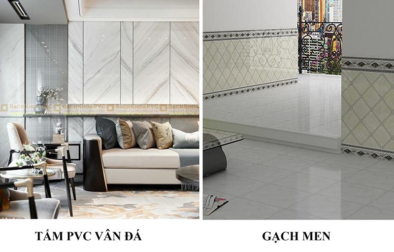 So sánh lợi ích khi ốp tường bằng gạch với ốp bằng tấm nhựa giả đá PVC