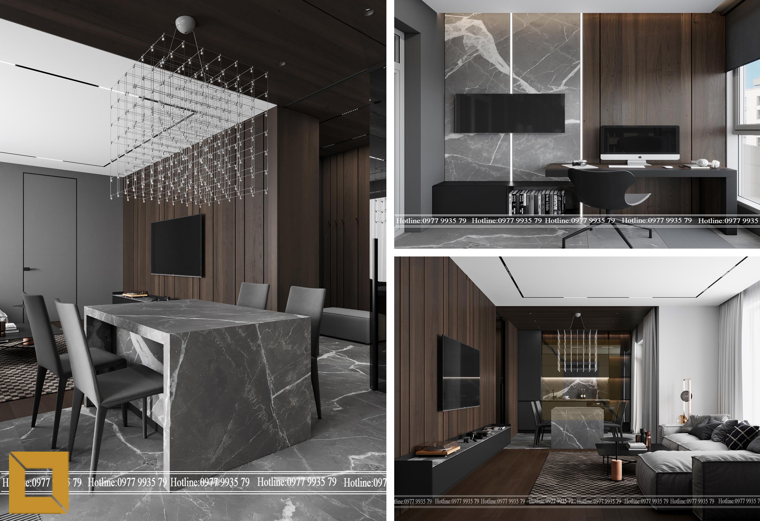 Thi công thiết kế nội thất biệt thự hiện đại với tấm nhựa ốp tường vân đá, gỗ