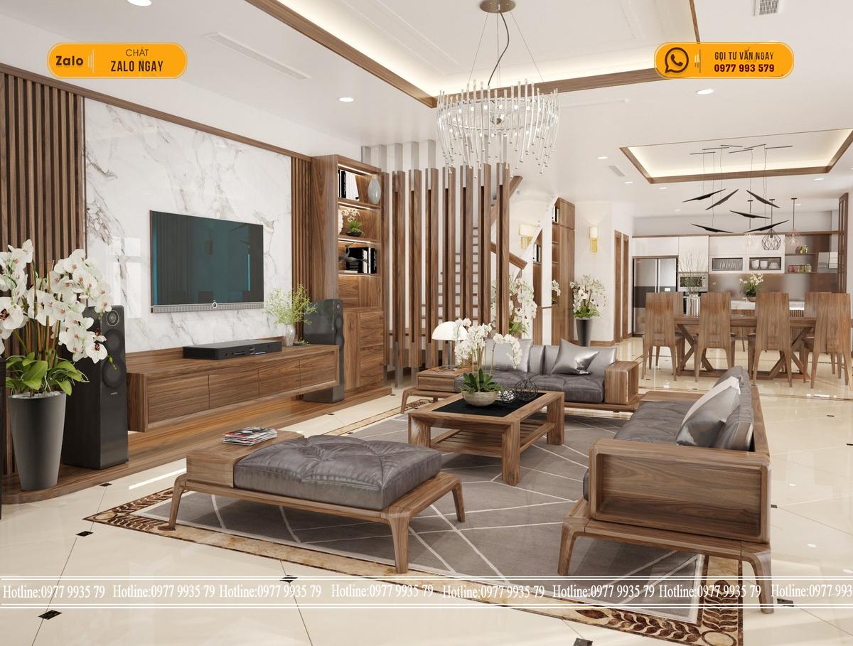 Thi công thiết kế nội thất biệt thự mini sang chảnh cùng tấm ốp tường vân đá, gỗ
