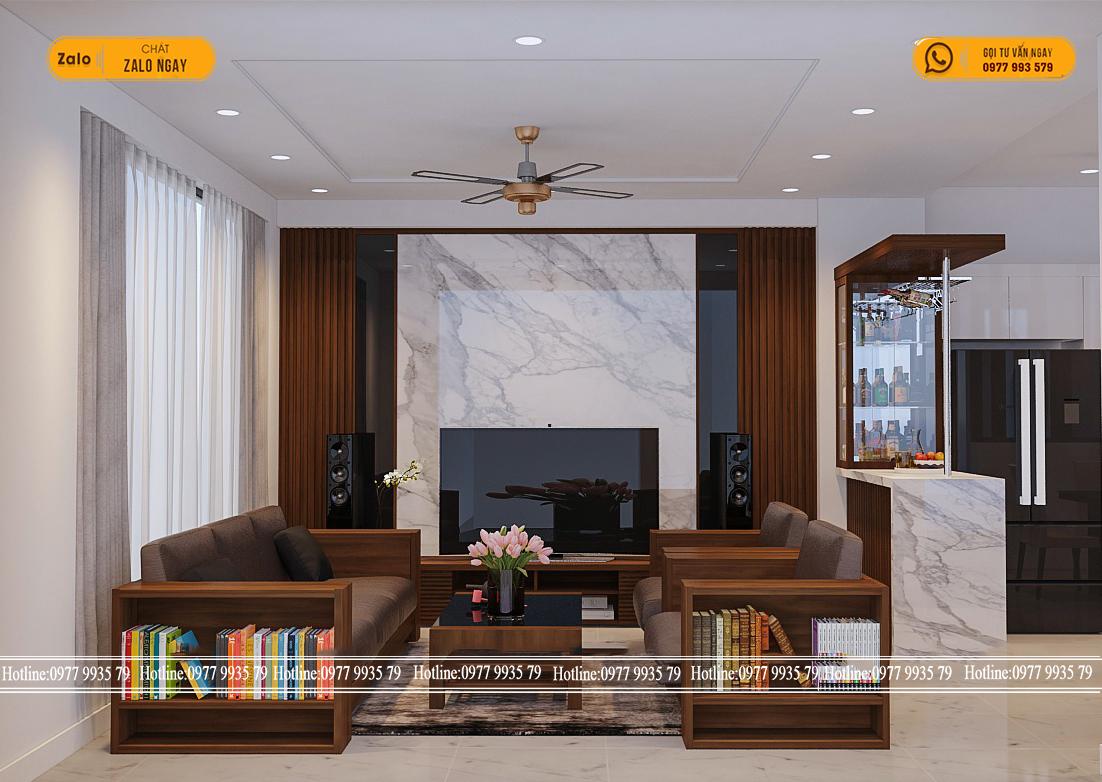 Thi công thiết kế nội thất nhà phố đẹp với tấm nhựa ốp tường