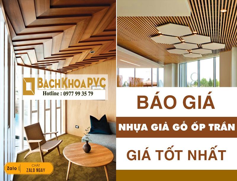 Trần nhựa giả gỗ dạng trần thả khiến không gian nội thất thêm đẳng cấp