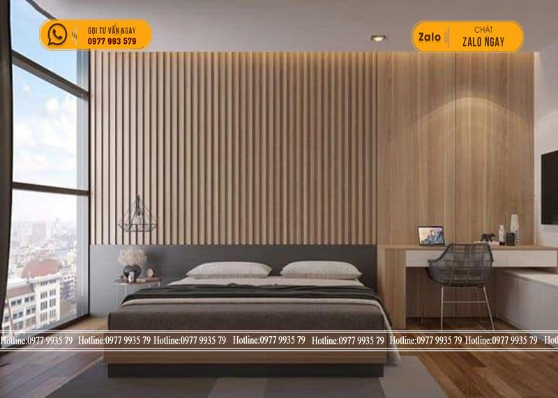 Tư vấn ốp tường cho nội thất phòng ngủ bằng tấm nhựa giả gỗ 1